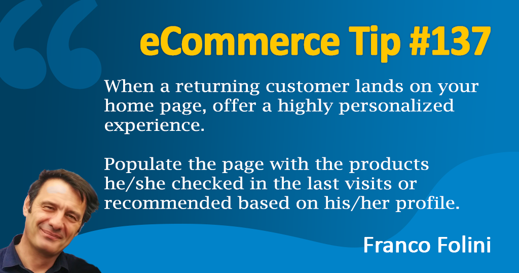 eCommerce: Personalize your homepage for each returning visitor