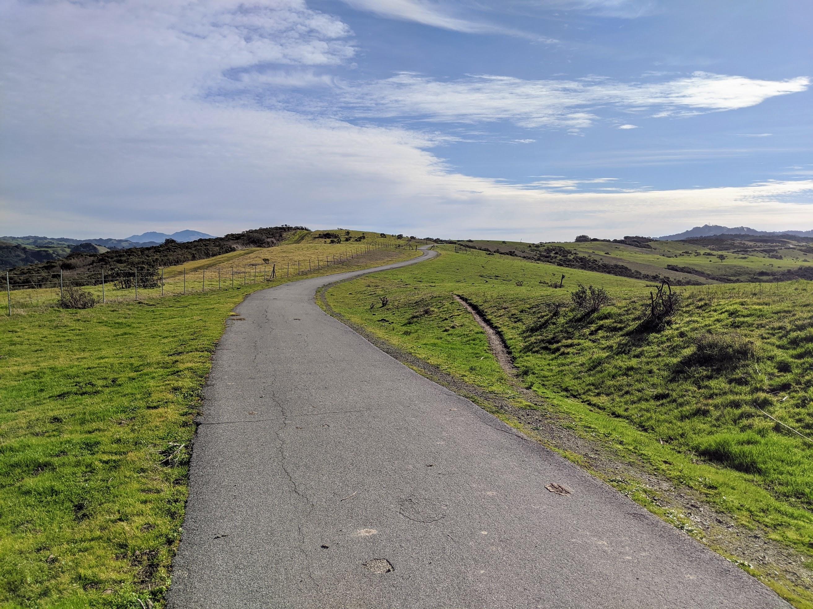 Sulla sommità delle colline che stanno alle spalle di Berkeley passa il sentiero detto Nimitz Trail che da Inspiration Point prosegue per vari km fino a scendere verso l'abitato di San Pablo. Da Inspiration Point solitamente percorro 5km lungo Nimitz per poi rientrare alla partenza per un percorso totale di 10 km. Tutti spettacolari.