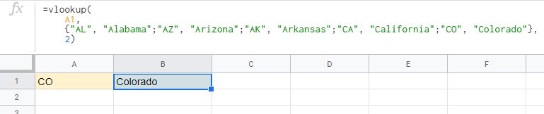 Google Sheet vlookup() function can be implemented with a Literal Array, hiding the hash table data from the spreadsheet.