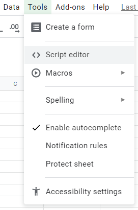 The Google Sheet menu to access the Script Editor. The Script Editor is where we can write simple Javascript functions callable from the spreadsheet.
