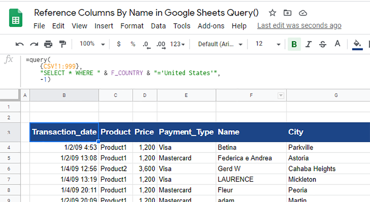 Reference Columns By Name in Google Sheets Query()