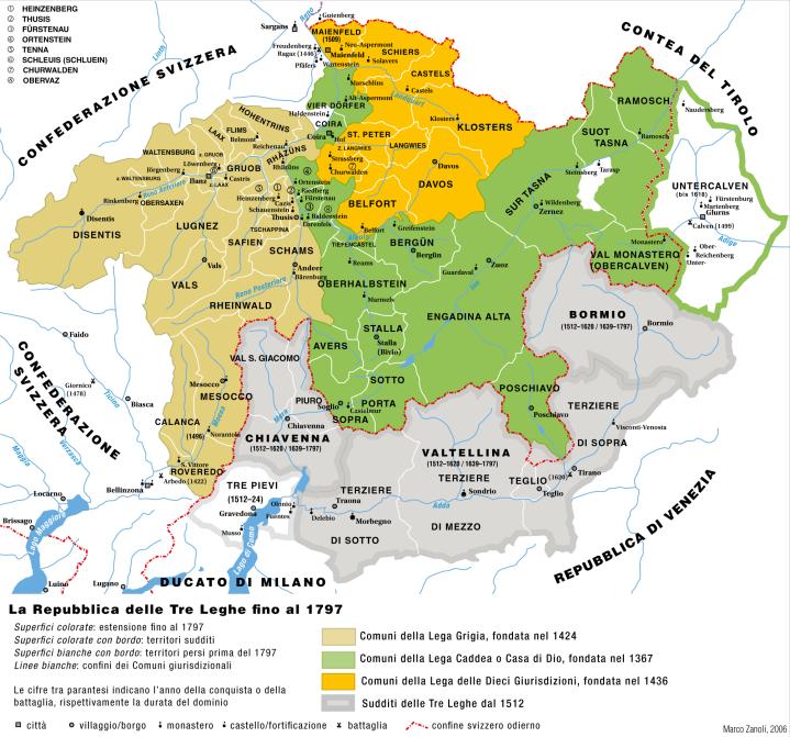 La posizione strategica della Valtellina agli inizi del 1600