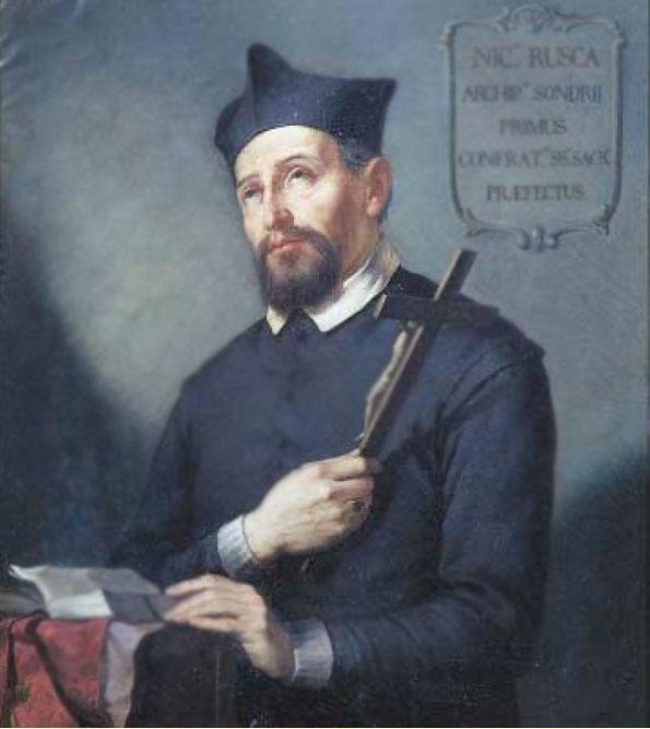 Nicolò Rusca (Bedano, 20 aprile 1563 – Thusis, 4 settembre 1618), arciprete di Sondrio in un dipinto del 1852 di Antonio Caimi conservato nella Collegiata dei Santi Gervasio e Protasio a Sondrio.