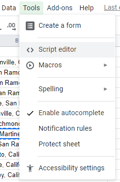 Starting the Google Script Editor IDE from Google Sheets