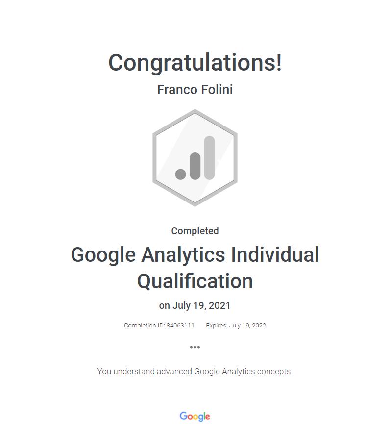 Google Analytics Individual Qualification, aka GAIQ - Franco Folini certificate